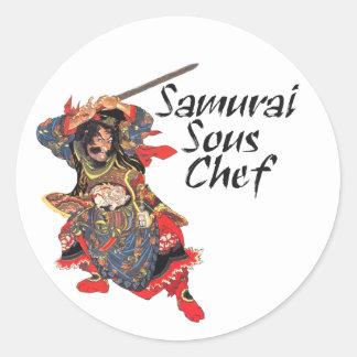 Samurai Sous Chef Classic Round Sticker