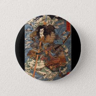Samurai surfing on the backs of crabs c. 1800's 6 cm round badge