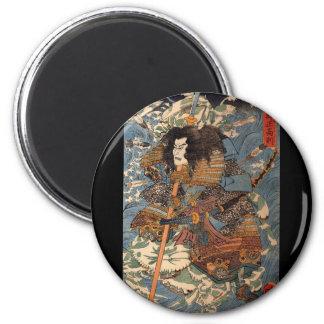 Samurai surfing on the backs of crabs c. 1800's 6 cm round magnet