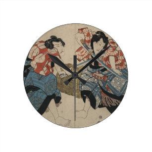 Samurai Sword Fight circa 1825 Round Clock
