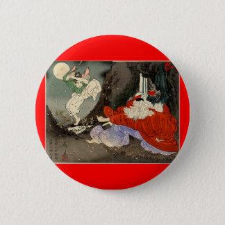 Samurai training with Tengu, Circa 1800's 6 Cm Round Badge