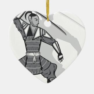 Samurai vector ceramic heart decoration
