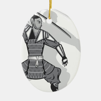 Samurai vector ceramic oval decoration