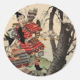 Samurai Viewing Cherry Blossoms circa 1885 Classic Round Sticker