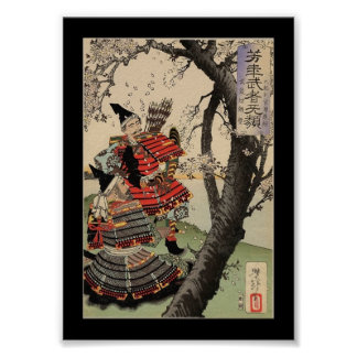 Samurai Viewing Cherry Blossoms circa 1885 Poster