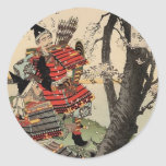 Samurai Viewing Cherry Blossoms circa 1885 Round Sticker