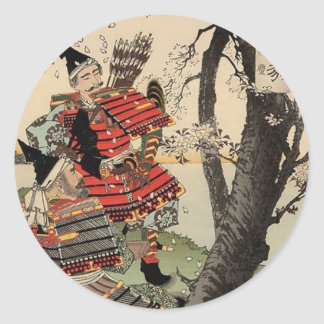 Samurai Viewing Cherry Blossoms circa 1885 Round Sticker