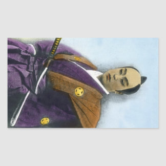 Samurai VIntage Japanese 侍 Rectangular Sticker