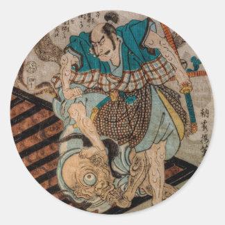 Samurai VS Cyclops Round Sticker