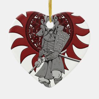 Samurai Warrior Japan Ceramic Heart Decoration
