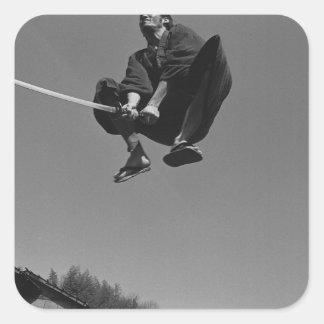 Samurai warrior jump attack with a sword 3 square sticker