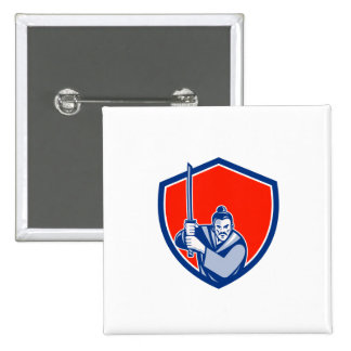 Samurai Warrior Katana Sword Shield Retro 15 Cm Square Badge