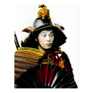 Samurai Warrior of Old Japan Vintage Warrior 侍 Postcard