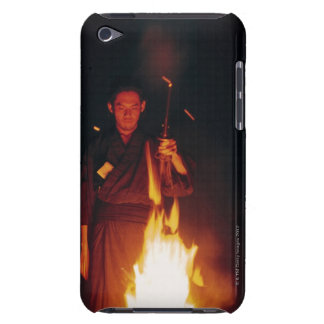 Samurai warrior standing in front of burning barely there iPod cases