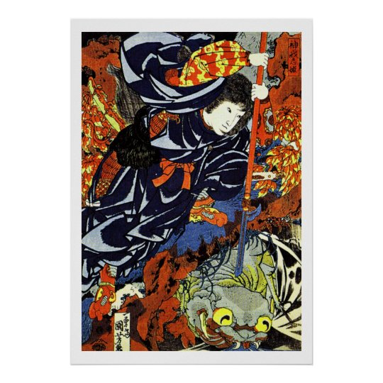 Samurai Warrior Ukiyo–e Woodblock Poster