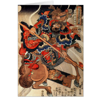 Samurai warrior vintage woodblock ukiyo-e card