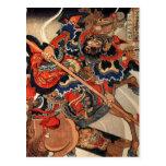 Samurai warrior vintage woodblock ukiyo-e post card