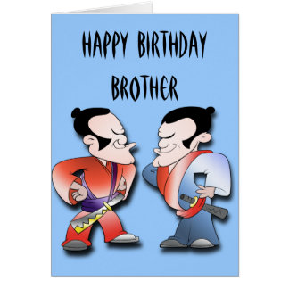 Samurai Warriors Brothers Birthday Card
