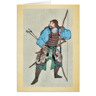 Samurai wearing armor and holding a bow card