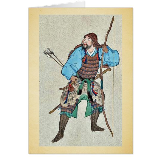 Samurai wearing armour and holding a bow card