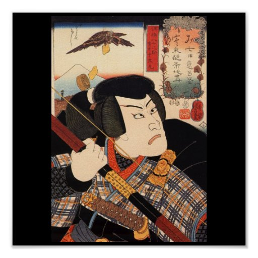 Samurai with a Bow, Mt. Fuji Background c. 1800's Poster