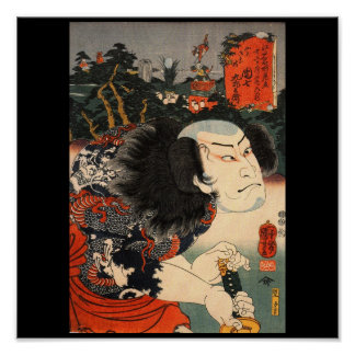 Samurai with a Dragon Tattoo and Sword c. 1800's Poster