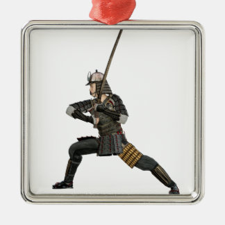 samurai with a sword in a defensive form Silver-Colored square decoration