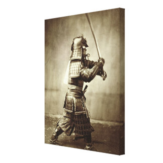 Samurai with raised sword, c.1860 (albumen print) canvas print