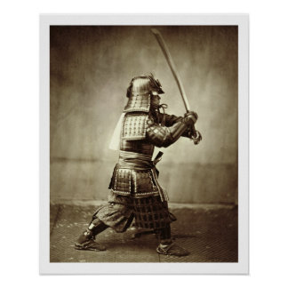 Samurai with raised sword, c.1860 (albumen print) poster