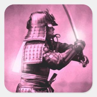 Samurai With Sword Square Sticker