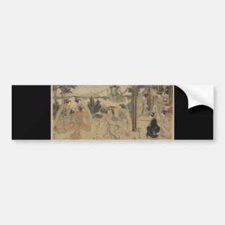 Samurai with Women and Mt. Fuji Background c.1801 Bumper Sticker