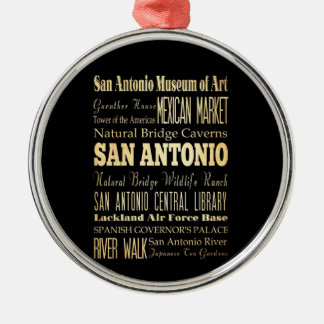 San Antonio City of Texas State Typography Art Christmas Ornament
