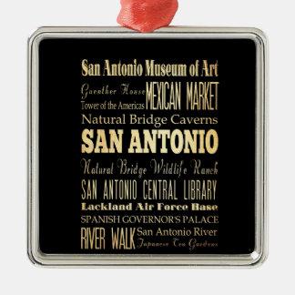 San Antonio City of Texas State Typography Art Christmas Ornament