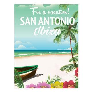 San Antonio Ibiza beach travel poster Postcard