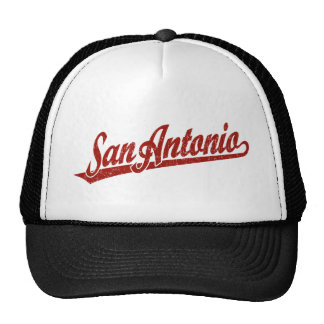 San Antonio script logo in red distressed Mesh Hats