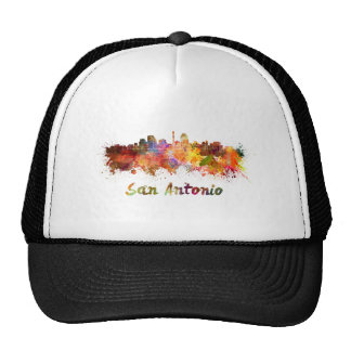 San Antonio skyline in watercolor Hat