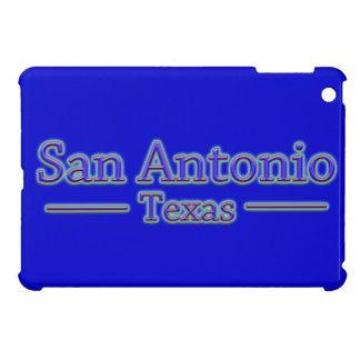 San Antonio Texas in Blue & Red - On Blue iPad Mini Covers