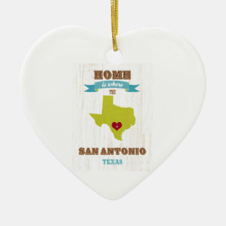 San Antonio,Texas Map – Home Is Where The Heart Is Christmas Ornament