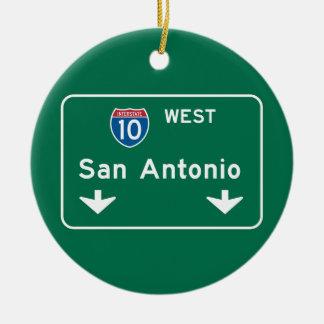 San Antonio, TX Road Sign Round Ceramic Decoration