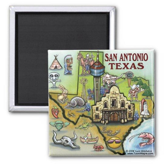 San Antonio TX Square Magnet