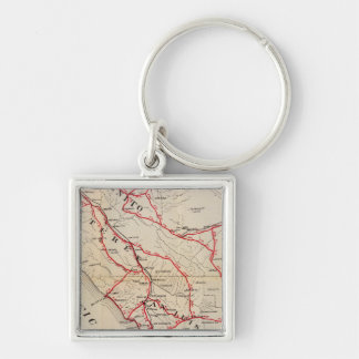 San Benito, Fresno, Monterey, San Luis Obispo Silver-Colored Square Key Ring