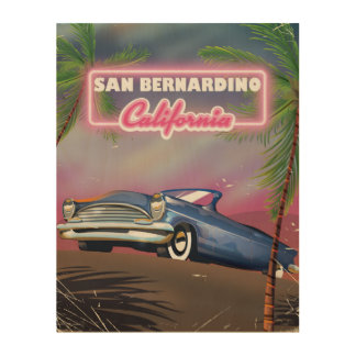 San Bernardino California retro USA travel poster Wood Canvases
