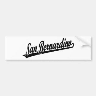San Bernardino script logo in black Bumper Sticker