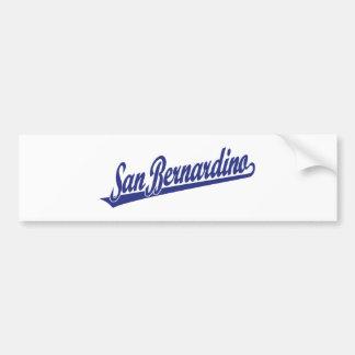 San Bernardino script logo in blue Bumper Sticker