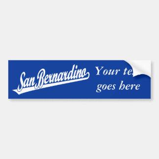 San Bernardino script logo in white Bumper Sticker