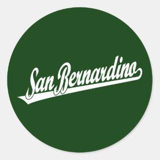 San Bernardino script logo in white Stickers