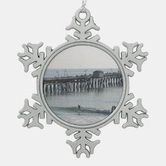 San Clemente California Snowflake Pewter Christmas Ornament