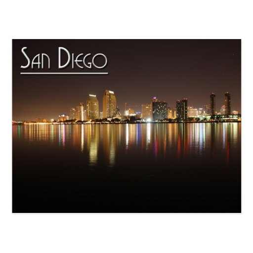 San Diego At Night Post Card