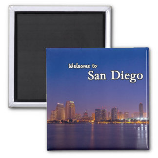 San Diego At Night Square Magnet