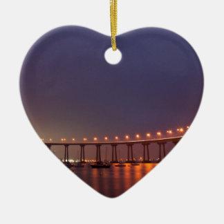 San Diego bridge Ceramic Heart Decoration